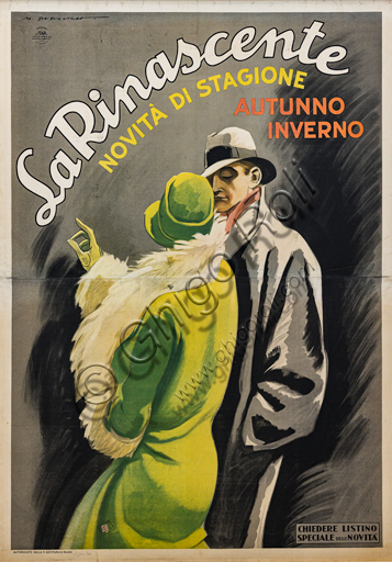 """""""La Rinascente, Couple wearing Winter Hats and Overcoats"""", Illustration for the advertising poster by Marcello Dudovich, 1928, chromolithography on paper."""
