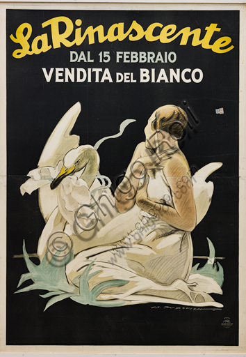"""""""La Rinascente, From February 15 sale of linen"""", Illustration for the advertising poster by Marcello Dudovich, 1922-26, chromolithography on paper."""