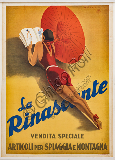 """""""La Rinascente"""", Illustration for the advertising poster by Marcello Dudovich, 1929-30, chromolithography on paper."""