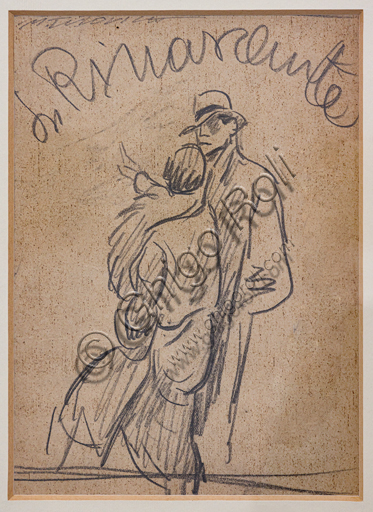 """""""La Rinascente, News of Season Autumn and Winter"""", pencil sketch on paper for an illustration, by Marcello Dudovich, 1928."""