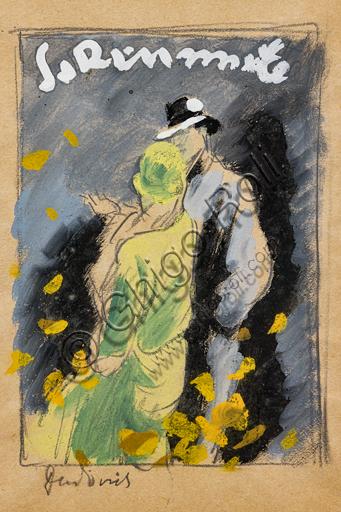 """La Rinascente, News of Season Autumn and Winter"", tempera sketch on paper for an illustration, by Marcello Dudovich, 1928."