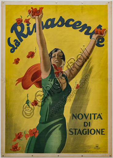 """""""La Rinascente, News of the Season"""", Illustration for the advertising poster by Marcello Dudovich, 1928-35, chromolithography on paper."""