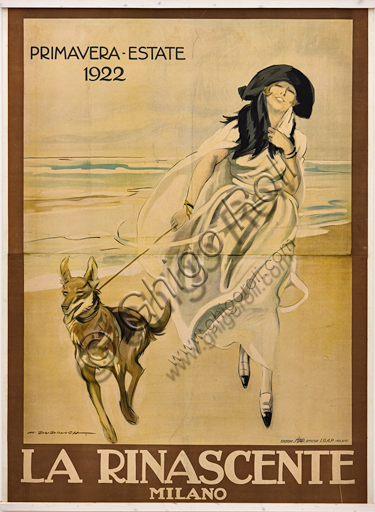 """""""La Rinascente, Spring - Summer 1922"""", Illustration for the advertising poster by Marcello Dudovich, 1921, chromolithography on paper."""