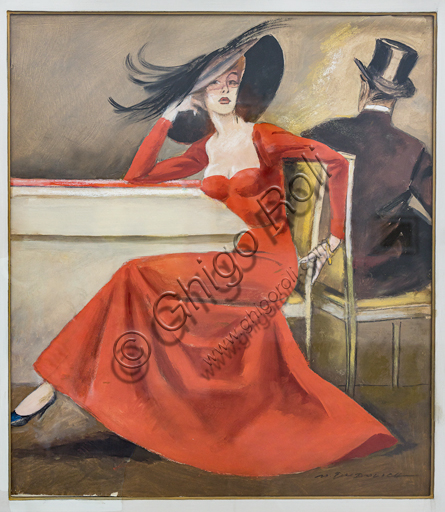 """""""The Red Dress"""", tempera and charcoal on paper, by Marcello Dudovich, 1954-5."""