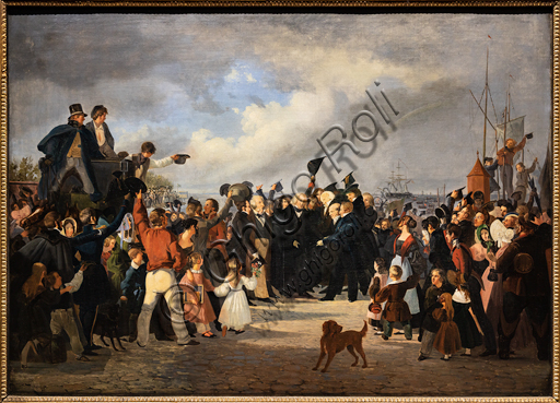 """The reception of Thorvaldsen at the customs on September 17, 1838"", 1839-41, by Fritz Westphal (1804-1844), oil on canvas."