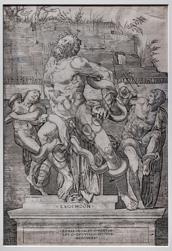 """""""Laocoön"""", by Marco Dente, about 1520-3, burin."""