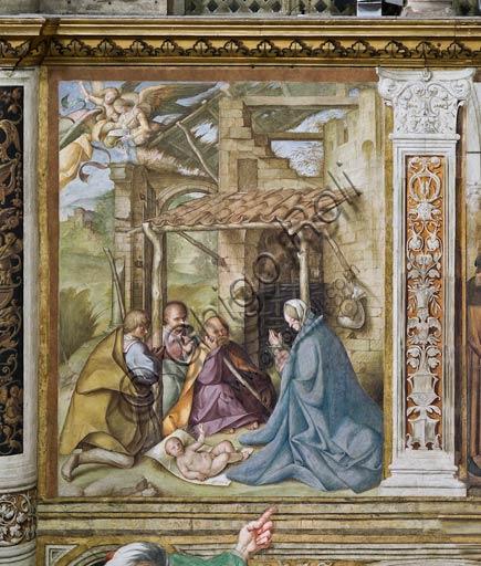 """Cremona, Duomo (Cattedrale di S. Maria Assunta), interno,   navata mediana, quarto arcone: """"L'Adorazione dei Pastori"""", affresco di Boccaccio Boccaccino, 1514-15."""