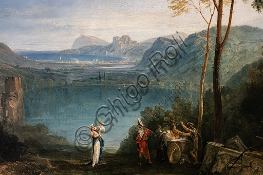 "Joseph Mallord William Turner: ""The Lake of Avernus, Aeneas, the Cumaean Sybil"", oil painting, 1814-5. Detail."