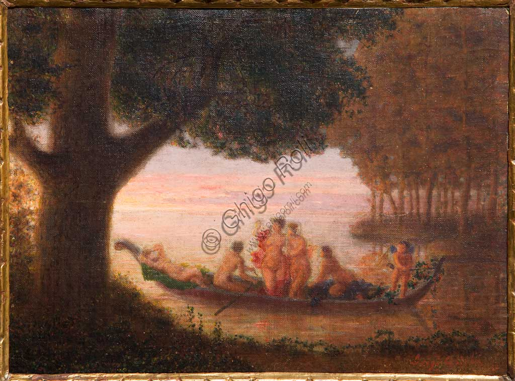 "Assicoop - Unipol Collection: Luigi Asioli (1817-1877), ""Lake and Nymphs"". Oil on cardboard, cm. 26x36."