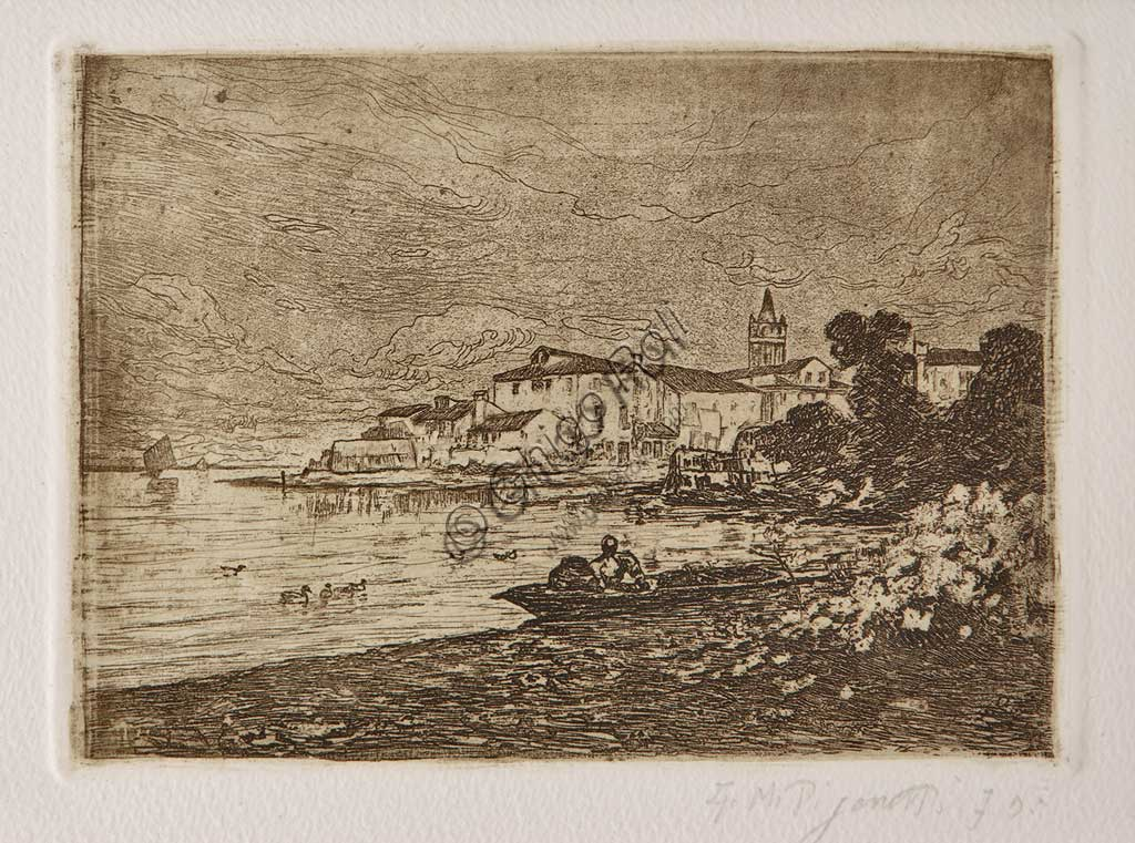 "Assicoop - Unipol Collection: ""Venetian Lagoon"", etching and aquatint on white paper, by Giuseppe Miti Zanetti (1859 - 1929)."