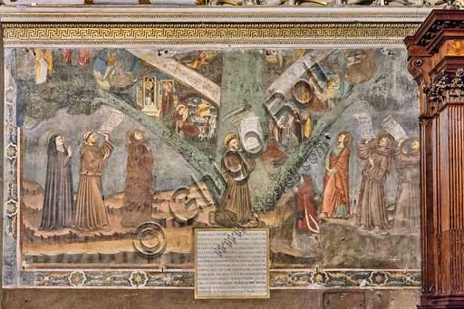 """Bergamo, Città alta, Basilica of Santa Maria Maggiore, right transept: """"The Tree of Life"""", fresco following Giotto style, realised in 1347."""