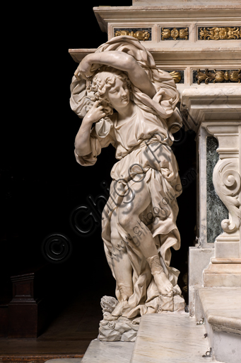 """Genova, Duomo (Cattedrale di S. Lorenzo), interno, presbiterio: """"L'altare maggiore - particolare con angelo"""", di Daniele Solaro (fine XVII secolo)."""