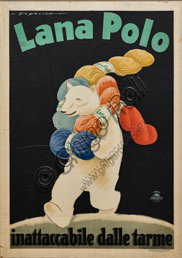 """""""Lana Polo (Polo Wool)"""", Illustration for the advertising poster by Marcello Dudovich, 1930, chromolithography on paper."""