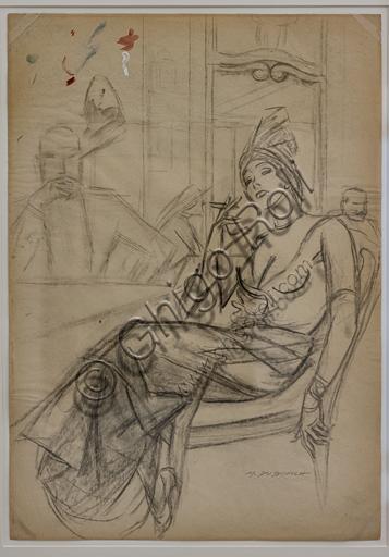 """The aperitif"",  by Marcello Dudovich, pencil sketch  on paper, 1954-5."