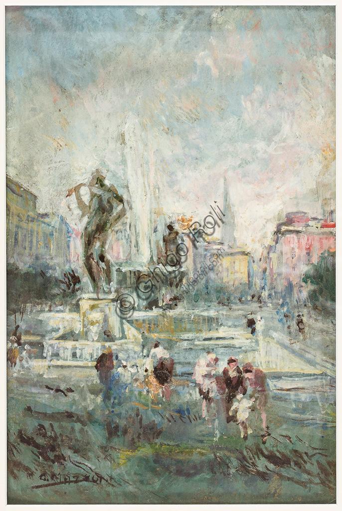"""Collezione Assicoop - Unipol: Giuseppe Mazzoni: """"Largo Garibaldi a Modena"""". Olio su cartoncino, cm 30 x 20."""