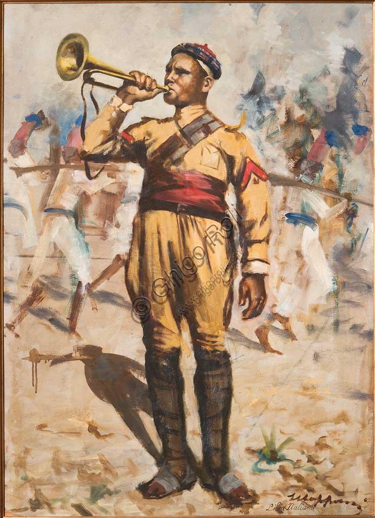 """Collezione Assicoop - Unipol: Giuseppe Mazzoni (1881-1957), """"L'Ascaro"""". Olio su compensato, cm. 70x100."""