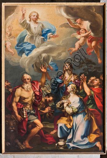 """Genova, Duomo (Cattedrale di S. Lorenzo), interno, navata meridionale, parete meridionale: """"L'Ascensione con S. Gerolamo, la Maddalena e santi"""", di Paolo Gerolamo Piola (1694 circa)."""