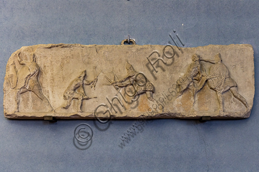 Roman slab representing a Sagittarii (archers) combat.