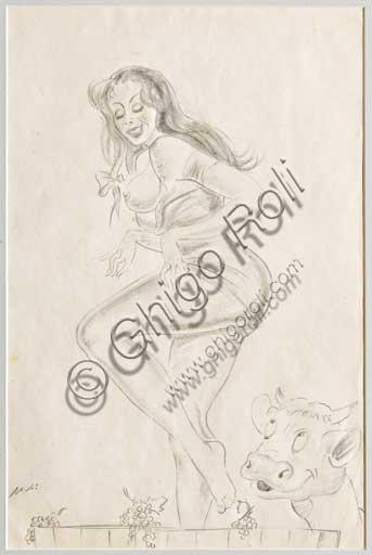 """Collezione Assicoop Unipol: Mario Molinari (1903 - 1966) """" L'Autunno"""". Disegno erotico a matita, cm 32 x 21."""