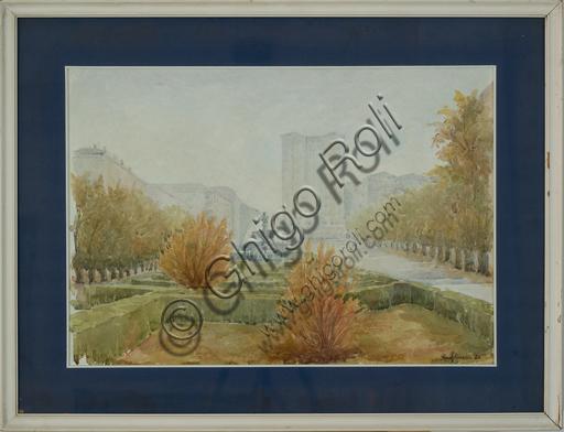 """Rino Golinelli (1932): """"L'autunno in largo Garibaldi"""", (acquerello, cm. 50 x 70)."""