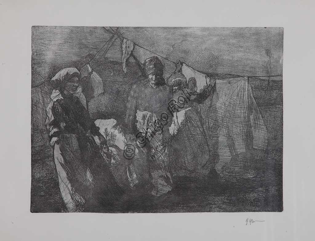 "Collezione Assicoop - Unipol: Giuseppe Graziosi (1879-1942), ""Lavandaie"", acquaforte e acquatinta su carta, lastra."