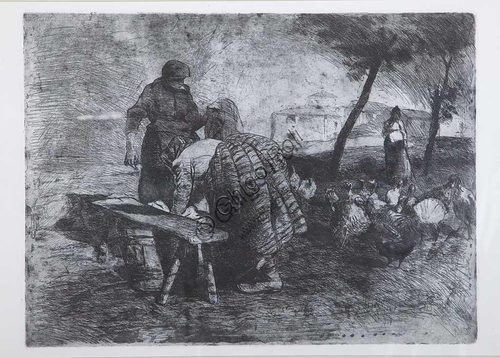 """Collezione Assicoop - Unipol: Giuseppe Graziosi (1879-1942), """"Lavandaie sull'aia"""", acquaforte e acquatinta su carta, lastra."""