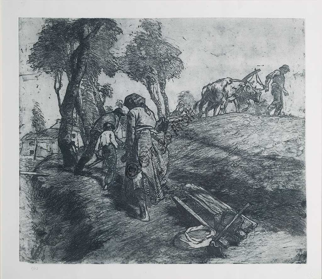 """Collezione Assicoop - Unipol: Giuseppe Graziosi (1879-1942), """"Lavoro nei campi"""", acquaforte e acquatinta su carta, lastra."""