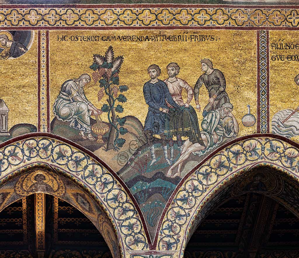 "Monreale, Duomo: ""The drunkenness of Noah"", Cycle of the Old Testament - The Great Flood, Byzantine mosaics, XII - XIII century.Latin inscription: ""HIC OSTENDIT CAM VERENDA PATRIS EBRII FRATRIBUS""."