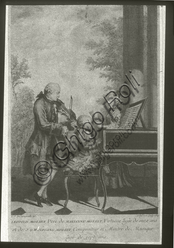"""""""Leopold, Marianne e Wolfgang Amadeus Mozart in a family concert"""". Engraving, 1764 based on a Watercolor by Louis Carrogis Carmontelle, ca. 1763."""