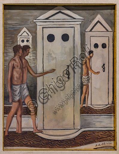 "Museo Novecento: ""Les Bains Mystérieux"", di Giorgio De Chirico ,1934-6. Tempera e tecnica mista su cartone."