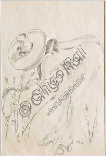 """Collezione Assicoop Unipol: Mario Molinari (1903 - 1966) """" L'Estate"""". Disegno erotico a matita, cm 32 x 21."""