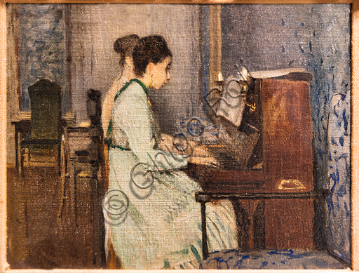 """Telemaco Signorini: """"The Piano Lesson """", 1868, oil painting on canvas."""