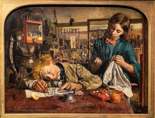 """""""Kit's Writing Lesson"""",  (1852)  by Robert Braithwaite Martineau (1826 - 1869);  oil painting on canvas."""