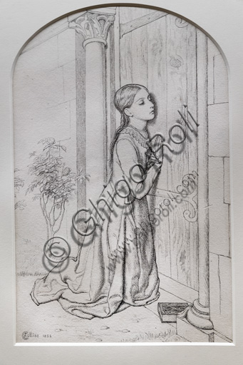 """""""The Devout Childhood of St. Elisabeth of Hungary"""", by Charles Allston Collins (1828 - 73), graphite and ink on paper."""