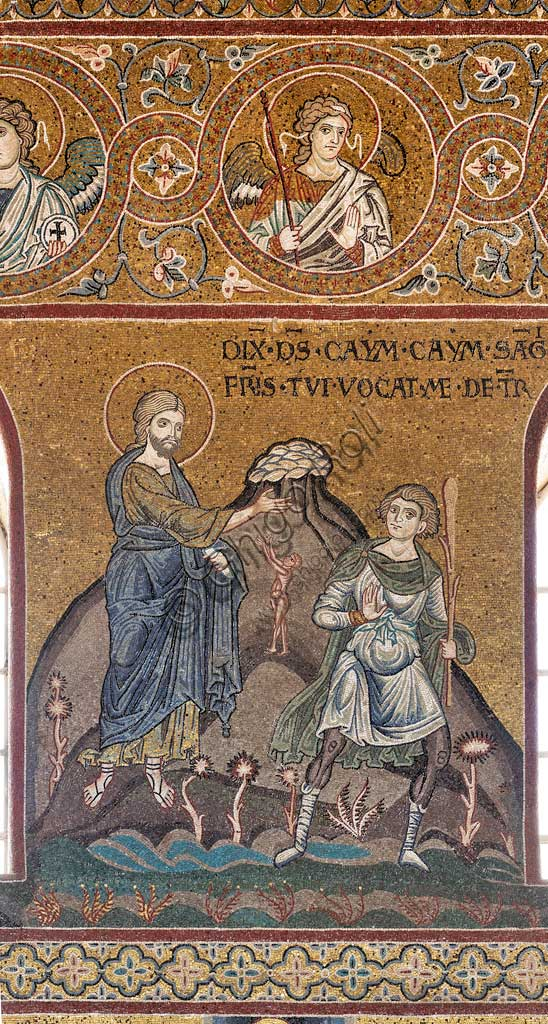 "Monreale, Duomo: ""The Iniquity of Cain"", Byzantine mosaic, Old Testament Cycle - Earthly Paradise, XII - XIII century.Latin inscription: ""DIXIT DEUS, CAYM, CAYM, SANGUIS FRATRIS TUI VOCAT ME DE TERRA""."