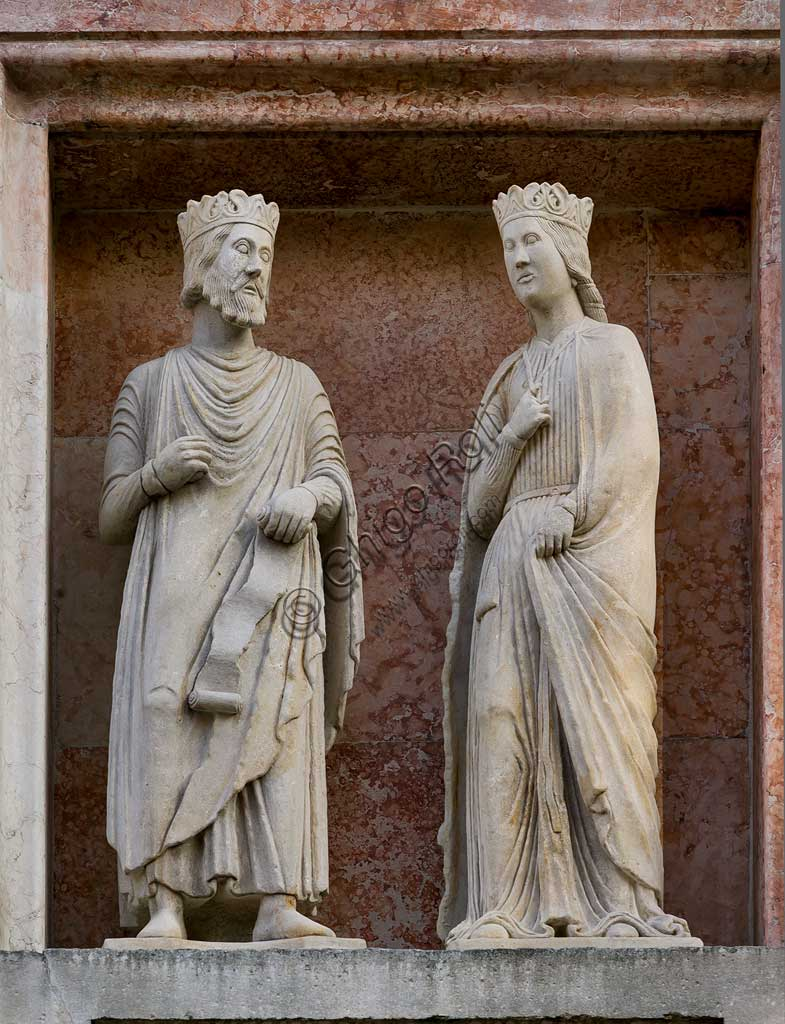 "Parma, The Baptistery: ""King Salomon meeting the Queen of Sheba"".  Scupture in marble  by Benedetto Antelami and workshop."