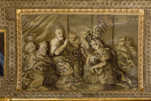 """Genova, Duomo (Cattedrale di S. Lorenzo),  interno, Cappella Senarega o di Nostra Signora del Soccorso (abside meridionale), volta: """"L'investitura di di S. Sebastiano da parte di Papa Caio"""", di Giovanni Andrea Carlone (1690 circa)."""