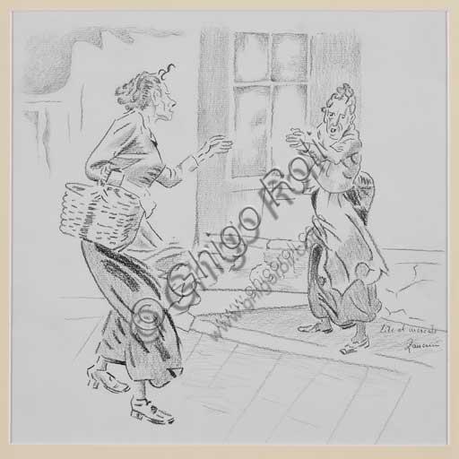 """Collezione Assicoop - Unipol, inv. n. 440;Remo Zanerini (1923 -), """"Lite al mercato""""."""