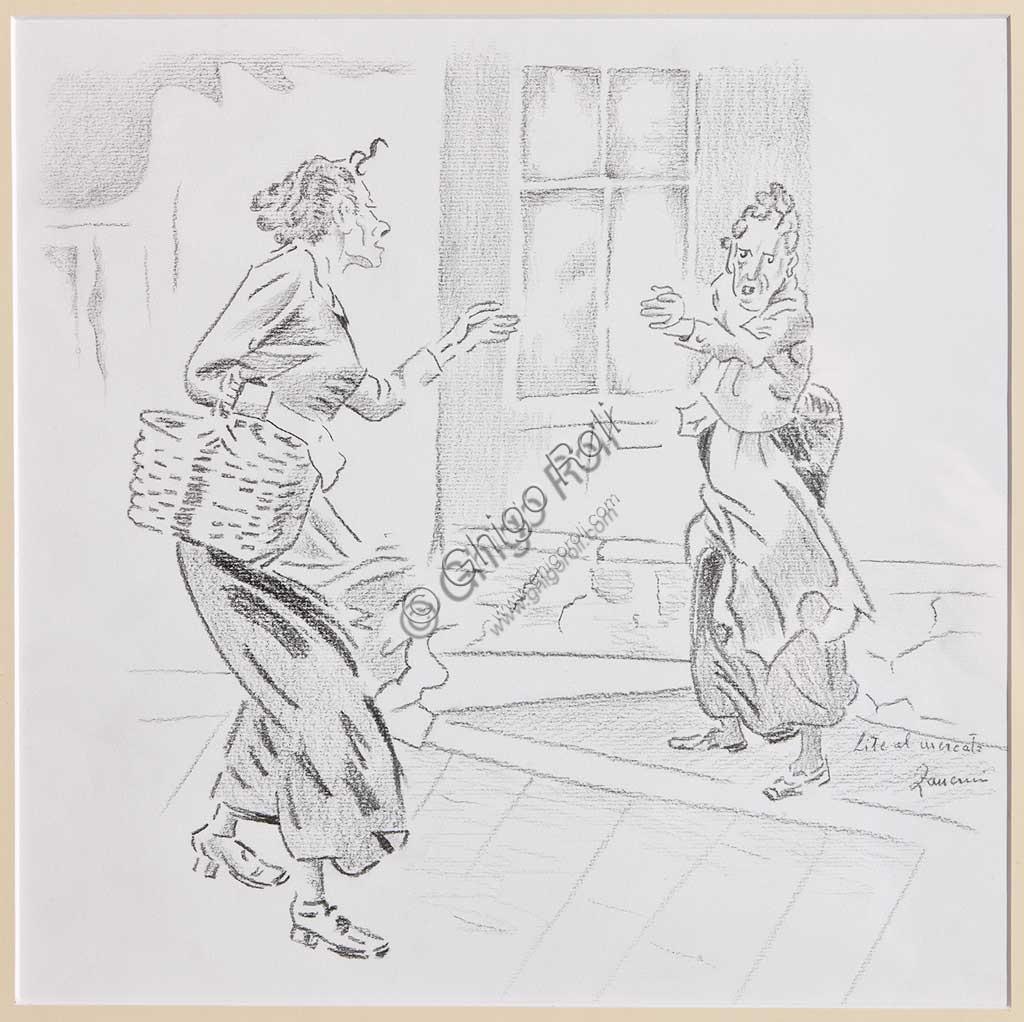 "Assicoop - Unipol Collection:Remo Zanerini, ""Quarrel at the market"", pencil on paper."