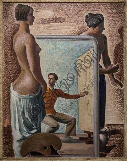 """Museo Novecento: """"L'officina dei sogni"""", di Mario Tozzi, 1929. Olio su tela."""