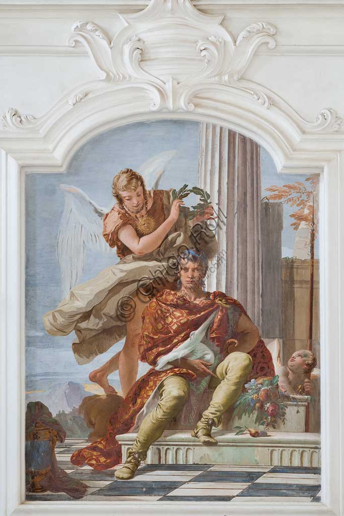 "Villa Loschi  Motterle (formerly Zileri e Dal Verme), the hall of honour: ""Honour is crowned by Virtue "", allegorical fresco by Giambattista Tiepolo (1734)."