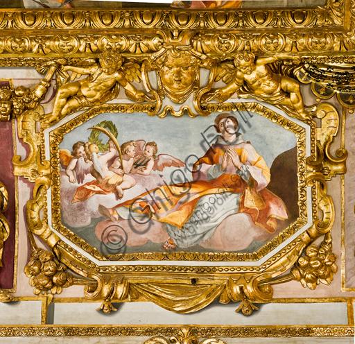 """Genova, Duomo (Cattedrale di S. Lorenzo), interno, volta: """"S. Lorenzo"""" (1622-24), affresco di Lazzaro Tavarone."""