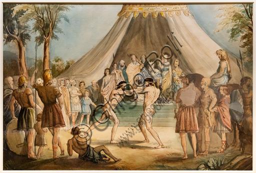 """The Wrestlers"",  (1840-41)  by John Everett Millais (1829 - 96); watercolour on paper."