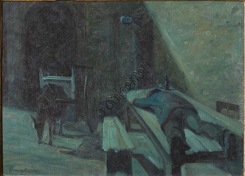 """Collezione Assicoop - Unipol: Bruno Semprebon (1817-1877), """"L'Ubriaco"""". Olio su compensato, cm. 57x80."""