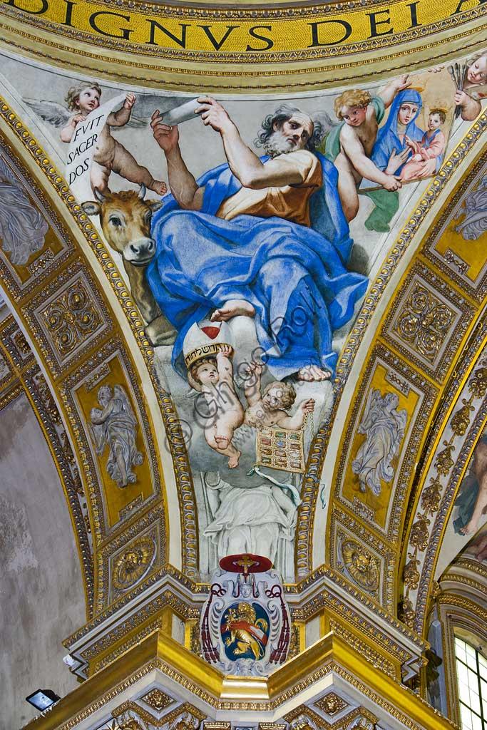 """Basilica of St Andrew della Valle, Pendentive of the transept dome: """"St Luke the Evangelist"""". Fresco by Domenichino (Domenico Zampieri), 1622 - 28."""