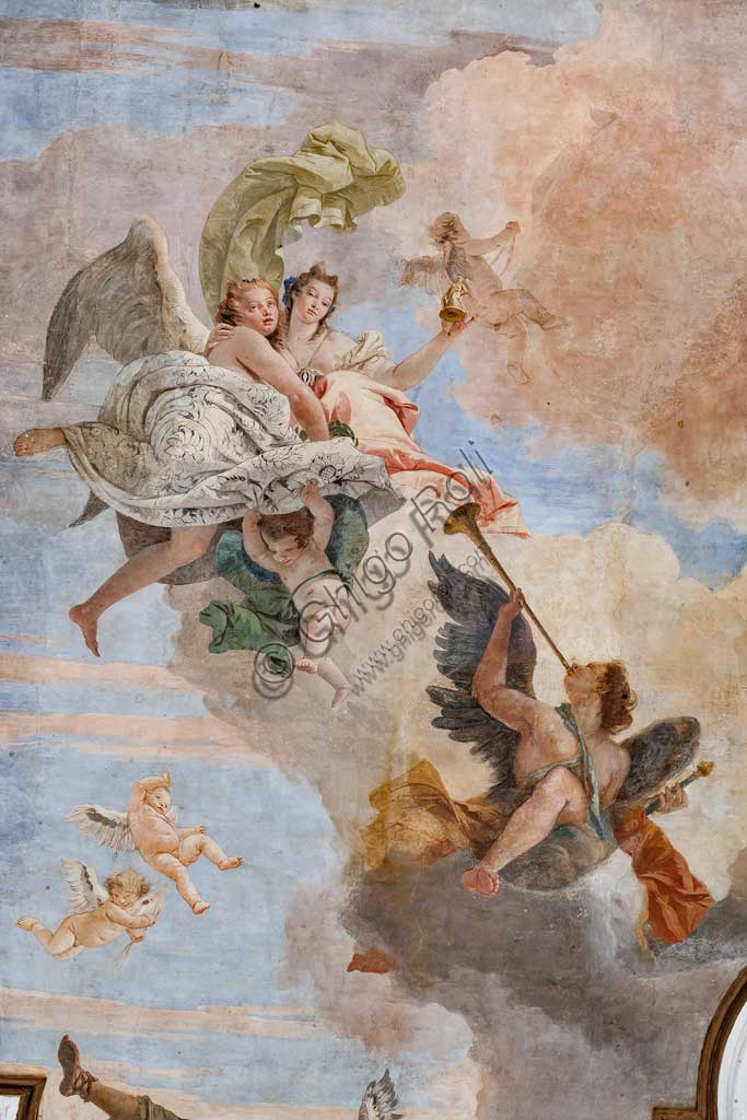 "Villa Cordellina, the central hall, the ceiling: ""The Light of Intelligence overcomes the Darkness of Ignorance"", fresco by Giambattista Tiepolo, 1743. Detail with an angel playing an instrument."