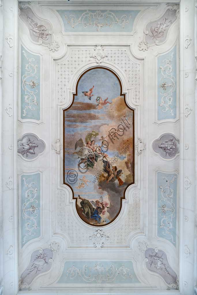 "Villa Cordellina, the central hall, the ceiling: ""The Light of Intelligence overcomes the Darkness of Ignorance"", fresco by Giambattista Tiepolo, 1743."