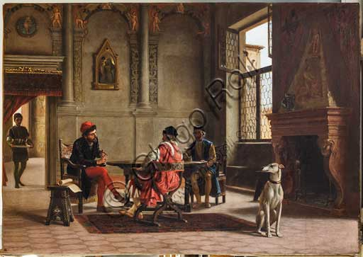 "Assicoop - Unipol Collection: Albano Lugli, ""Ludovico Ariosto as ambassador meeting Alberto Pio"". Oil painting on canvas, cm 140 x 195."