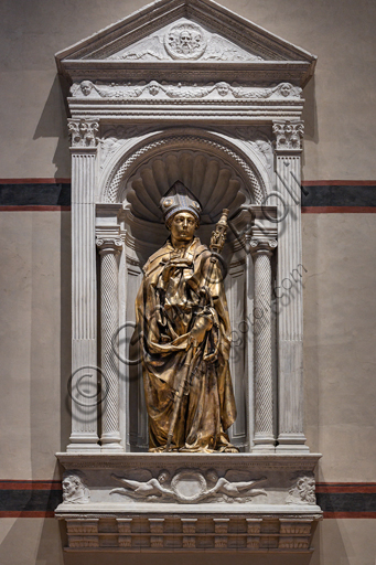 "Basilica of the Holy Cross: ""St. Louis of Toulouse"", 1422-5, by Donatello. The statue is in gilt bronze; the tiara is in silver, gilt bronze, enamel and crystal rock."