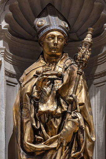 "Basilica of the Holy Cross: ""St. Louis of Toulouse"", 1422-5, by Donatello. The statue is in gilt bronze; the tiara is in silver, gilt bronze, enamel and crystal rock.Detail."
